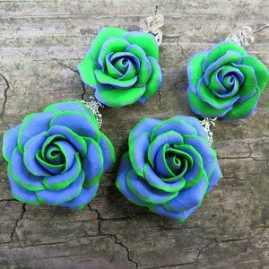 NEW  Floral Green Purple Rose Earrings